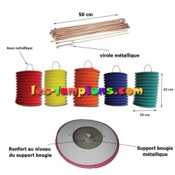 Kit lampions led cylindriques tricolores