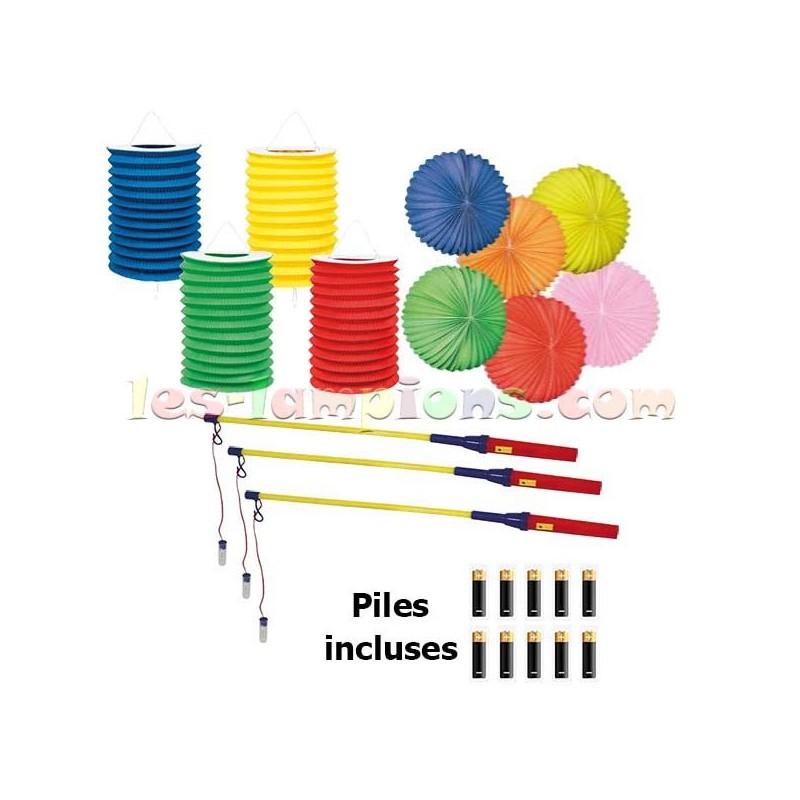 Kit lampions led cylindriques et boule tricolore