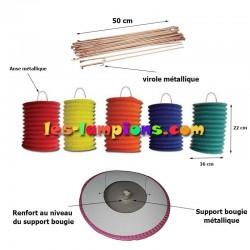 Lampion cylindrique rouge (sachet de 12 lampions)